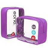 Amazon Brand - Eono Beauty Case da Viaggio Clear Borsa da Viaggio Impermeabile Cosmetici Trasparente Toiletry Bag Kit da Aereo per...