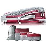 TRAVEL DUDE Organizer Valigie | Cubi con Compressione | realizzati con Bottiglie di Plastica Riciclata | Set da Viaggio per zaini...