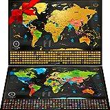 """Due Mappe Da Grattare: Mappa Del Mondo Da Grattare Con Bandiere (61x43 Cm) + """"Mappa a Sorpresa"""" (Degli Stati Uniti Oppure..."""