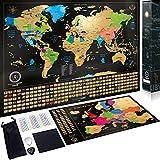 Mappa del mondo da grattare + Bonus Mappa Europa da grattare - Dettagli cartografici che mostrano capitali, meraviglie del mondo e...