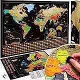 Due Mappe Da Grattare: Mappa del Mondo da Grattare con bandiere XXL + Offerta Gratuita una Mappa dell'Europa da grattare - Mappa...